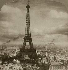 Underwood Stereoview Eiffel Tower, Paris, France w/Ferris Wheel, Paris Expo 1900