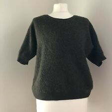 WHISTLES Jumper Size 14 Green Wool Alpaca Blend Short Sleeve Textured