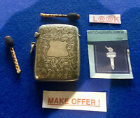 SILVER EDWARDIAN BIRMINGHAM 1906 MATCH HOLDER VESTA CASE MATCH SAFE STRIKER