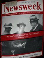 Vintage Newsweek Magazine Feb. 1941 Fantastic Ads, WWII, Hitler, Churchill