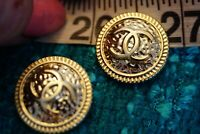 Stamped Chanel Buttons logo cc 💋💋💋 2 pieces 20 mm 0,8 inch gold