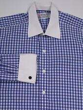 * TURNBULL & ASSER * Recent Blue/White Check French Cuff Dress Shirt (42) 16.5-3