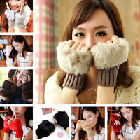 Women Winter Fur Woolen Knitted Fingerless Trim Gloves Arm Wrist Warmer Gloves