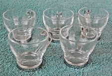 Vitrosax Set Of 5 Clear Demitasse Glasses with Stainless Steel Holders ~ Italy
