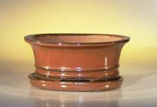 """Bonsai Pot Oval W/ Drip Tray Ceramic Aztec Orange 6.37"""" x 4.75"""" x 2.6"""" pre-wired"""