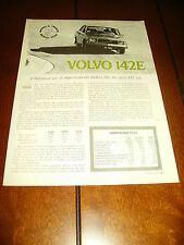 1971 VOLVO 142E  ***ORIGINAL ARTICLE / ROAD TEST*** BUY IT NOW $9.95