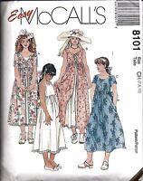 8101 UNCUT Vintage McCalls Sewing Pattern Girls Dresses Slip Easy Summer Spring