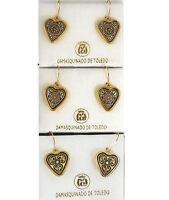Damascene Gold Geometric Design Heart Drop Earrings by Midas Toledo Spain 8115