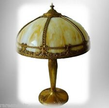 Pittsburgh art noveau lamp with bent slag glass shade FREE SHIPPING