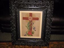"""Antique Needlepoint IHS Cross In Wood Gesso 3 Tiered Rococo Frame 26"""" X 30"""""""