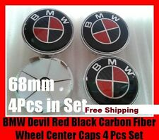 4pc BMW Red Carbon Fiber LOGO 68mm Wheel Center Hub Rim Tire Caps Tyre Emblem