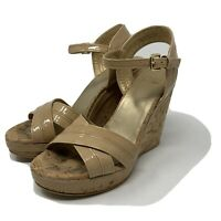 Stuart Weitzman Womens Cork Wedge Sandals 6.5 Nude Patent Leather Slingback