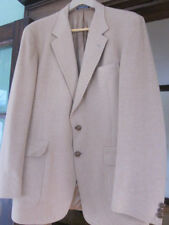 Men's 46L 100% Camel Hair 2-Button Tan Blazer Jacket Fully Lined Leather Buttons