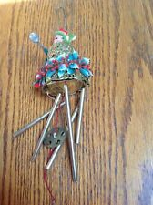 Vintage Christmas Pixie Elf on Plastic Glitter Bell Wind Chimes