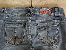 IMPERIAL STAR {Size 9} Junior's Lace-Up Fly Peace Sign Pockets Factory Hole Jean