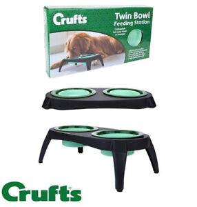 Crufts Double Raised Elevated Folding Dog Bowl Feeding Station Pet Cat Feeder