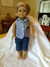 American Girl Doll, Short Blonde Hair Dressed in Jeans and Checked Shirt, Boy?