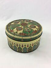 EMBOSSED MID CENTURY METAL TIN CONTAINER MADE IN HOLLAND, MULTI-COLOR