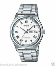 Casio MTP-V006D-7B Mens SILVER-tone Stainless Steel Dress Watch Roman WHITE Dial