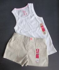 GIRLS White Tank Top Tan Lace Shorts Set Sz Med 7/8 NWT