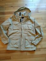 Timberland jacket Men's medium utility Khaki Tan Field Coat light packable hood