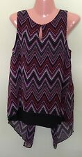 New Directions Chevron Zig Zag Overlay Sleeveless Blouse Medium New