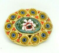 Gold Toned Micro Mosaic Floral Flowers Glass Pink Green Pin Brooch