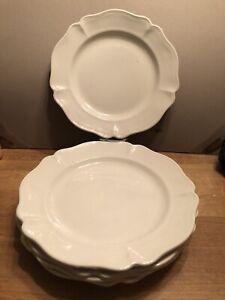 """SET (5) RED-CLIFF Ironstone White Heirloom 11"""" DINNER PLATES"""