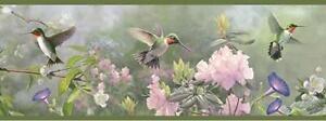 Wallpaper Border Hautman Brothers Hummingbirds and Lavender Purple Flowers Green