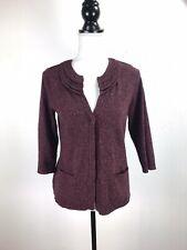 J Jill 3/4 Sleeve Snap Front Layered Collar Cardigan Sweater Small Petite