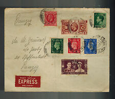 1937 England FDC first day cover Coronation KGVI King George 6 to Danzig Express