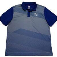 Kansas City Royals MLB Polo Mens Majestic Cool Base Blue Short Sleeve Shirt XL