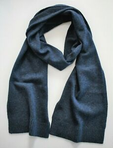 New BROOKS BROTHERS Blue 100% WOOL KNIT Long Scarf