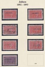 MEXICO, 1892-93. Revenue Jalisco Renta JA75-81, Used