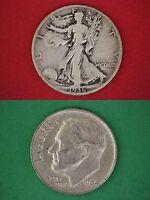 MAKE OFFER $50.00 Face 90% Silver Roosevelt Dimes & Walking Liberty Half Dollars