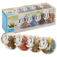 Set of 4 Food Storage Screw Lid Container Condiments Airtight Jar Rice Sweets
