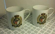 "Ralph Lauren Estate Crest White Coffee Cup Mug 4"" Tall SET OF 2 1967 MCMLXVII"