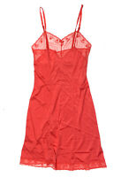 Ashley Taylor Womens 34 S Red Vintage 1970s Night Gown Silky Lace Mid Length