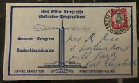 1936 Johannesburg South Africa Telegram Souvenir Cover Empire Exhibition