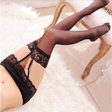 Women Leggings Lace Top Socks+Suspender Garter Belt Stockings Thigh-Highs