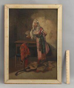 1895 R.R. Champlin 19thC Antique Genre Portrait Oil Painting, Italian Woman NR
