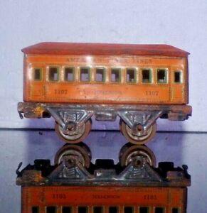 American Flyer 1107 Jefferson Passenger Tin  Litho Orange Prewar O Gauge Train