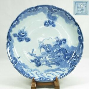 A229: Japanese old IMARI blue-and-white porcelain BIG plate w/beautiful dragon