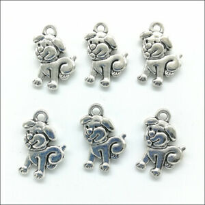 80pcs/Lot Cute Dog Antique Silver Charms Pendants for Jewelry Making DIY 17*11mm