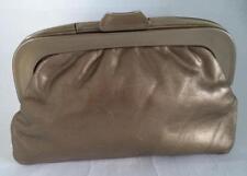 GOLD LEATHER FRAME PURSE CLUTCH BAG HANDBAG