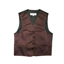 New Boy's Kid's formal Tuxedo Vest Waistcoat only Brown US size 2-14 wedding