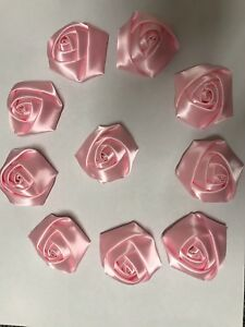 "10 Baby Pink Handmade 4d  Satin Rose Flowers 2"",  Bouquet,Corsage,Wedding,Craft"