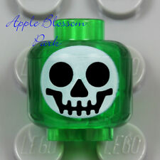 LEGO Trans Green WHITE SKULL MINIFIG HEAD -Halloween Skeleton Black Monster Eyes