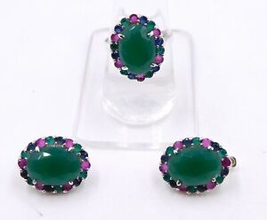 11.40 Gm Emerald & Ruby Earring Ring Hydro Set 925 Solid Sterling Silver J-583