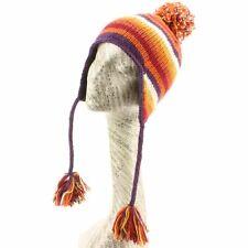 Sombrero Lana Orejeras Raya Rayado Polar Gorro de Invierno Punto Naranja Nuevo